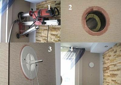 Этапы установки вентиляционного клапана в стену