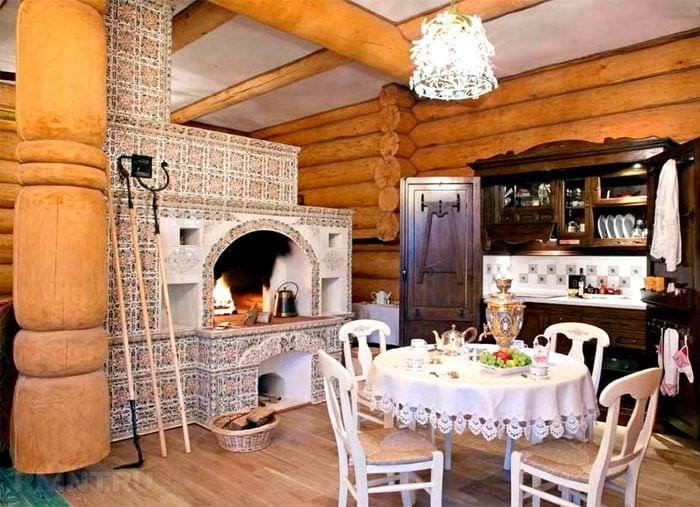 идея применения красивой русской печи в современном интерьере