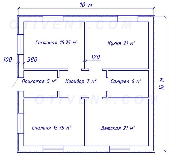 Планировка одноэтажного домика