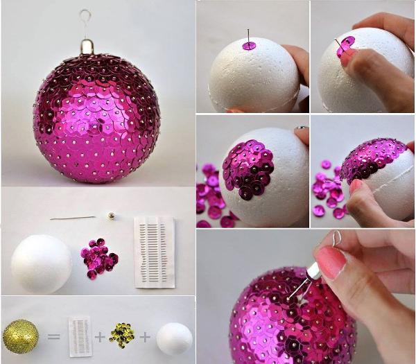 Декорирование шара из пенопласта при помощи паеток