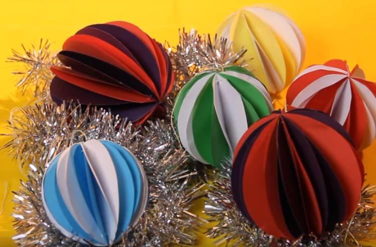 шарики на елку из бумаги