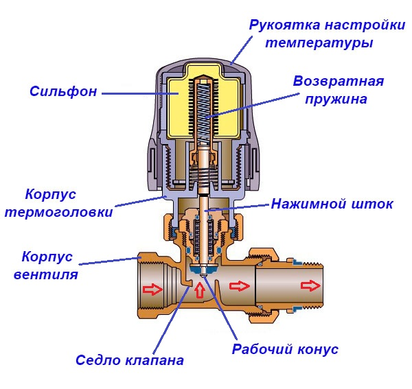 Схема термостата в разрезе