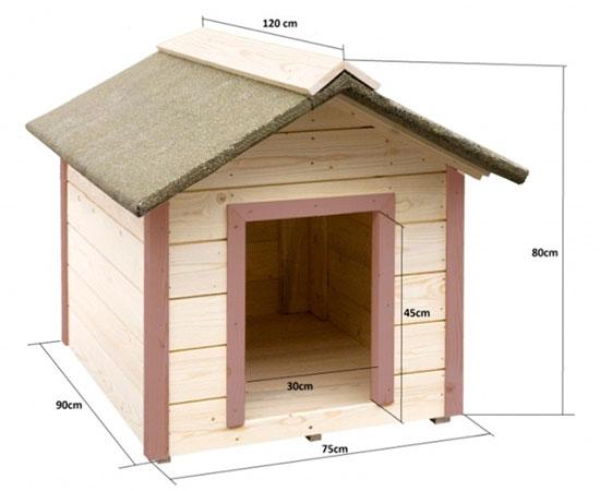 Конура с двухскатной крышей