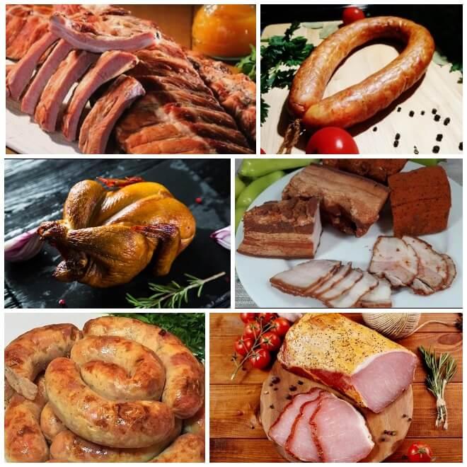 фото мясных копченостей: ребрышки, курица, колбаса, сало, балык