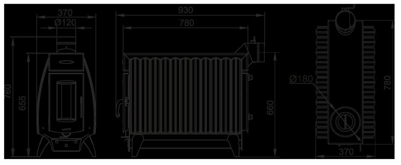 размеры печки Огонь Батарея 11
