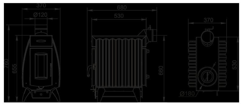 размеры Огонь Батарея 7 от Термофор