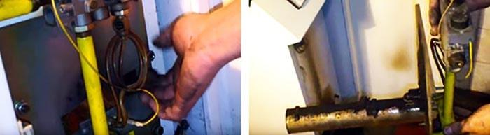 Как снять горелку напольного котла