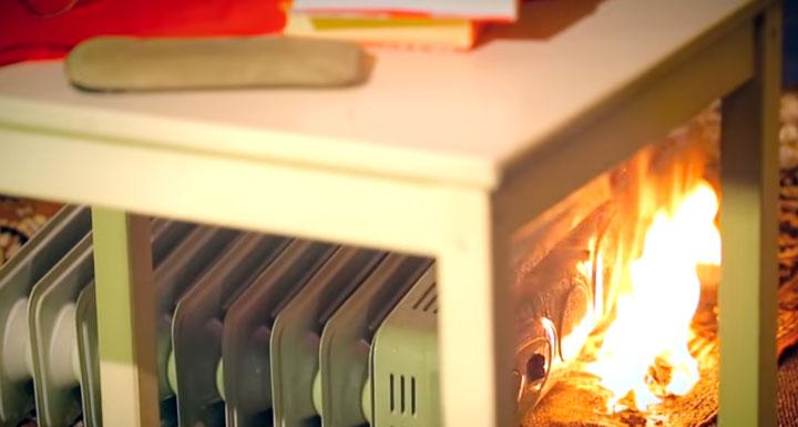 пожар из за падения масляной батареи