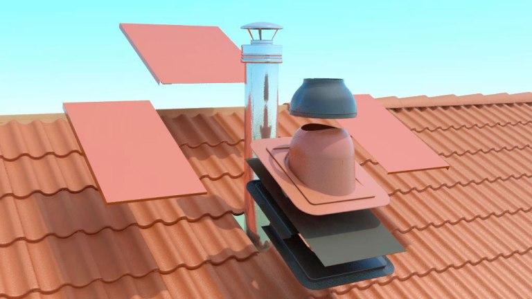 Конструкция проходного узла при выводе вентиляции на крышу